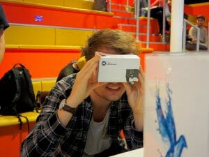 Joe Willmott experiencing Virtual Reality at DBM event